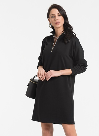 Styletag Fermuar Detaylı Elbise Siyah